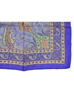 Šatka z hodvábu, štvorec, paisley potlač, fialový, 100x100cm