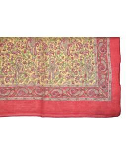 Šatka z hodvábu, štvorec, paisley potlač, červený, 100x100cm