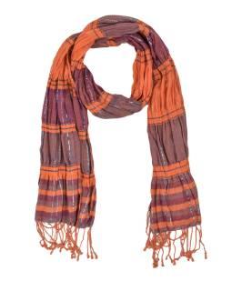 Šál, viskóza s lycrou, farebné prúžky, lurex, strapce, pružný 30 až 55x165cm