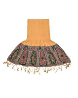 Šatka, viskóza, vyšívanie, elastický, paisley, oraznžový, strapce, 189x25 až 50cm
