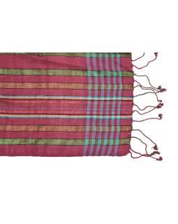 Šatka, farebné prúžky, vínový podklad, viskóza, farebný lurex, 50x176cm