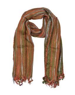 Šál s protkáváním a lurexom, oranžovo-zelený, viskóza, strapce, 49x176 cm