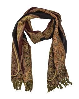 Luxusné vlnený šál, vínový, paisley vzor, strapce, 32x154cm