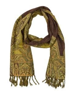 Luxusné vlnený šál, hnedý, paisley vzor, strapce, 32x152cm