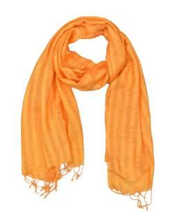 Šatka, viskóza, oranžová, strapce, 57x172cm