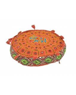 Meditačné vankúš, ručne vyšívaný Gujarat Elephant Design guľatý 40x12cm