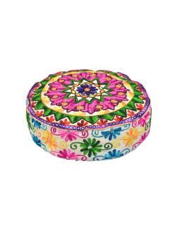 Meditačné vankúš, biely, ručne vyšívaný Kashmir Floral Design, okrúhly 40x12cm