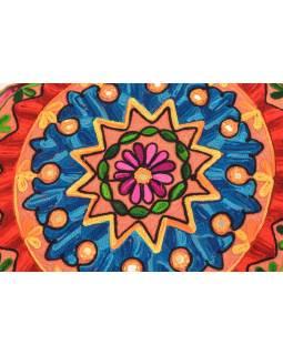 Meditačné vankúš, hnedý, ručne vyšívaný Kashmir Floral Design, okrúhly 40x12cm