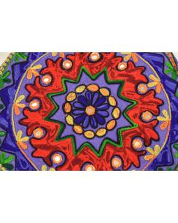 Meditačné vankúš, ručne vyšívaný Kashmir Floral Design, okrúhly 40x12cm