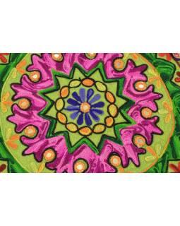 Meditačné vankúš, zelený, ručne vyšívaný Kashmir Floral Design, okrúhly 40x12cm