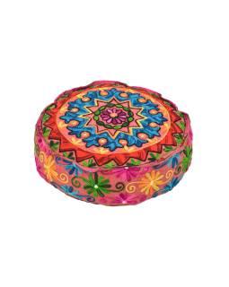 Meditačné farebný vankúš, ručne vyšívaný Kashmir Floral Design, okrúhly 40x12cm