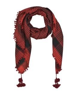 """Šatka, """"Palestína"""", viskóza, červeno-čierny, strapce, cca 120 * 120cm"""