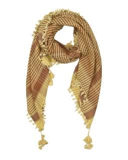 """Šatka, """"Palestína"""", viskóza, béžovo-hnedý, strapce, cca 120 * 120cm"""