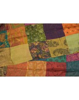 Hodvábny patchworkový šál s motívom, 180x50cm