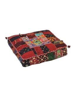 Meditačné vankúš, ručne vyšívaný patchwork, štvorec, 60x60x10cm