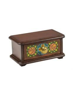Drevená skrinka s zásuvkou, keramické dlaždice, kovové madlo, 21,5x11,5x10,5cm