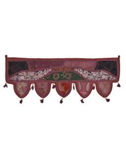 Záves nad dvere, vínový, výšivka, strapce, lem, 104x36cm