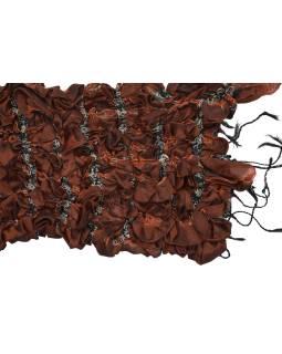 Šatka, hodváb, prešívaný gumičkou-štvorca, strapce, hnedo-tehlový 20 * 160cm