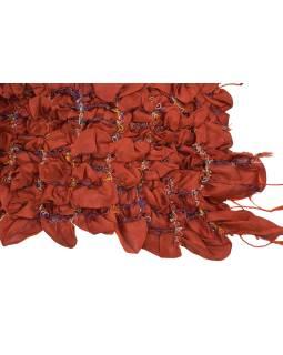 Šatka, hodváb, prešívaný gumičkou-štvorca, strapce, tehlovo červený 20 * 160cm