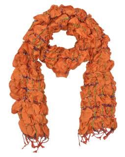 Šatka, hodváb, prešívaný gumičkou-štvorca, strapce, oranžový 20 * 160cm