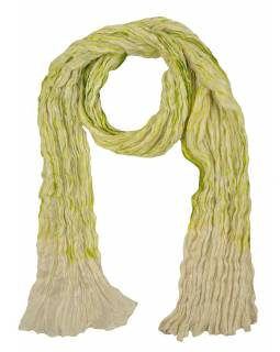Šatka, hodváb, mačkaná úprava, zeleno-krémová batika, 100x165