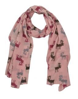 Šatka s motívom jeleňov, ružový, bavlnený, 175x70cm