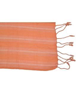 Šál s protkáváním, viskóza, oranžovo-béžový, strapce, 176x51cm