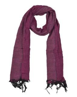 Šál, viskóza, fialovo-čierny, elastické žabičkování, 166 * 22 až 35 cm