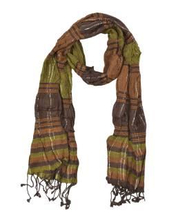 Šál, viskóza, hnedý, lurex, elastický, strapce, 180 * 25 až 44cm