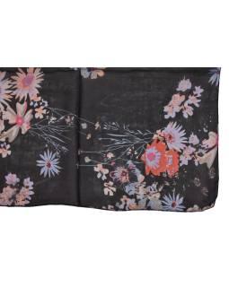 Šatka z hodvábu, štvorec, čierny, potlač kvetín, 100x100cm
