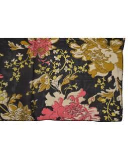 Šatka z hodvábu, štvorec, potlač kvetín, čierny, 100x100cm