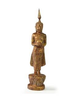 Narodeninový Budha, streda, teak, hnedá patina, 23cm