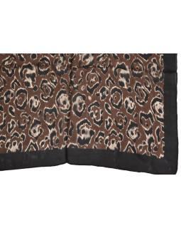 Šatka z hodvábu, štvorec, čierno-hnedý, potlač leopardích škvŕn 100x100cm