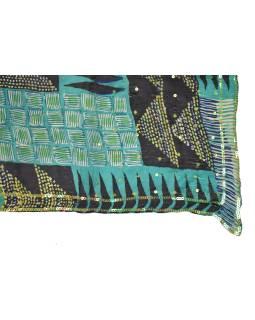Šatka z hodvábu, štvorec, zeleno-čierny, potlač, našité flitre 100x100cm