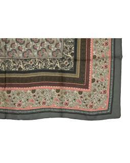 Šatka z hodvábu, štvorec, šedo-ružový, drobný potlač, 100x100cm