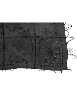 Šatka z hodvábu, štvorec, šedý, drobný čierny potlač, našité flitre, strapce