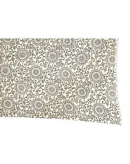 Šatka z viskózy, čierno-biely, potlač mandál, 77x184 cm