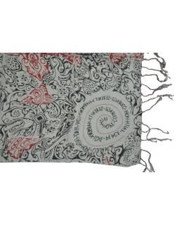 Šatka z viskózy, šedý s čierno-červenou potlačou, strapce, 70x180 cm