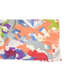 Šatka z viskózy, biely s farebnou potlačou, 70x180 cm