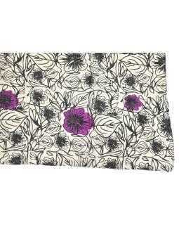 Šatka z viskózy, biely s fialovo-čiernou potlačou kvetín, 70x180 cm