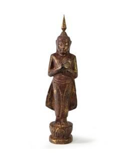 Narodeninový Budha, piatok, teak, hnedá patina, 23cm