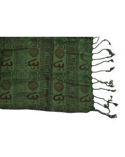 Šatka z viskózy, tmavo zelený s čierno-červenou potlačou Óm, strapce, 70x180 cm