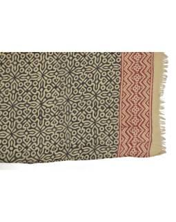 Šatka z bavlny, béžový, čierno-červená potlač, 70x180cm