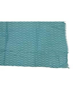 Šatka z bavlny, modrý s potlačou vlniek, 70x180cm