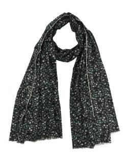 Šatka z bavlny, čierny s potlačou drobných kvetov, 70x180cm