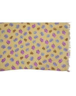 Šatka z bavlny, béžový, farebná potlač drobných motýľov 107x176cm
