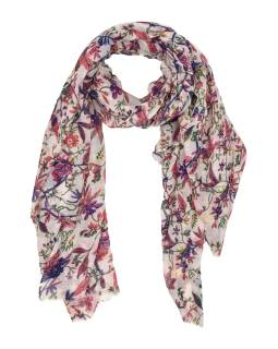 Šatka z bavlny, biely, farebná potlač rôznych kvetov 110x172cm