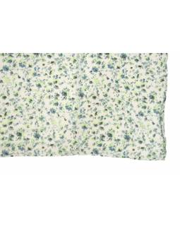 Šatka z viskózy, biely s drobným zeleno-šedou potlačou kvetín, 110x170 cm