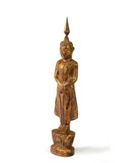 Narodeninový Budha, nedeľa, teak, hnedá patina, 23cm