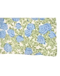 Šatka z viskózy, biely so zeleno-modrou potlačou kvetín, 110x160 cm